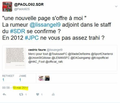 2016 Ex Rémois : CEDRIC FAURE prend sa retraite sportive, le 26/05/2017