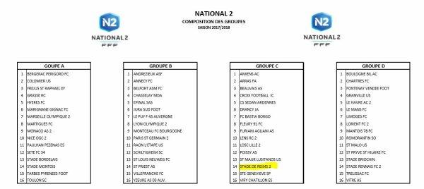 2017 NATIONAL 2 : LES ADVERSAIRES SONT CONNUS, le 13/07/2017