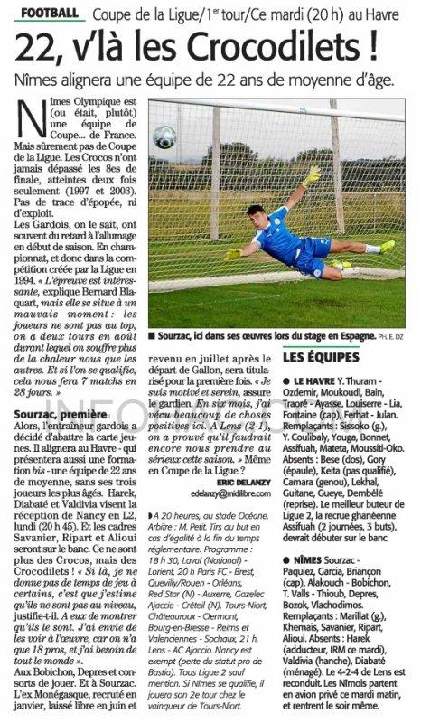 2017 CDL T1 LE HAVRE NÎMES 4-4 ( tab 5-4) le 08/08/2017