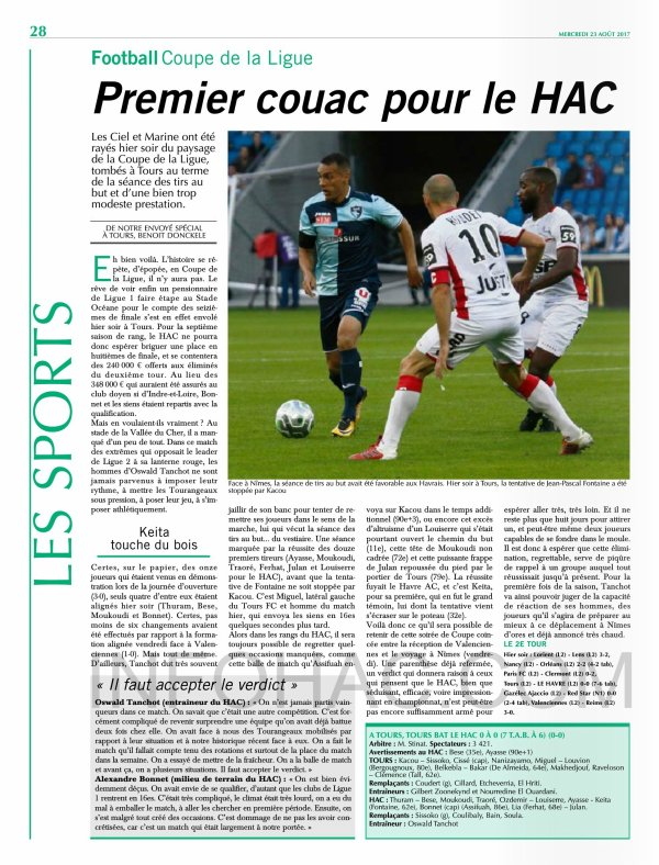 2017 CDL T2 TOURS LE HAVRE 0-0 (Tab 7-6) , le 22/08/2017