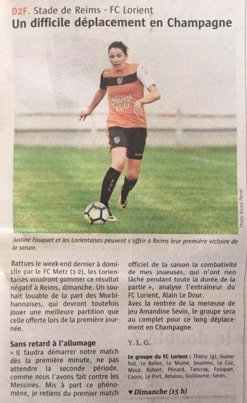 2017 D2 Féminines J02 REIMS LORIENT 3-0 , le 17/09/2017