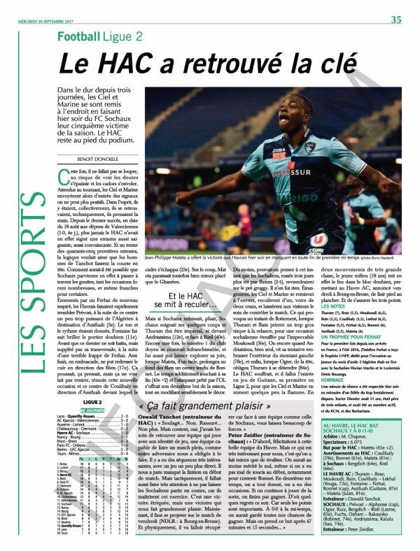 2017 Ligue 2 J08 LE HAVRE SOCHAUX 1-0, le 19/09/2017