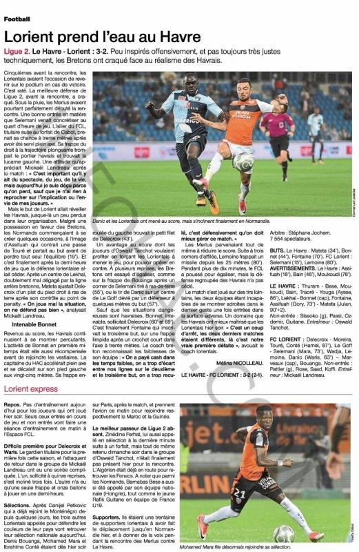 2017 Ligue 2 J10 LE HAVRE LORIENT 3-2, le 02/10/2017