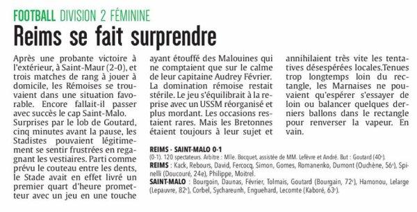 2017 D2 Féminines J06 REIMS SAINT MALO 0-1, le 15/10/2017