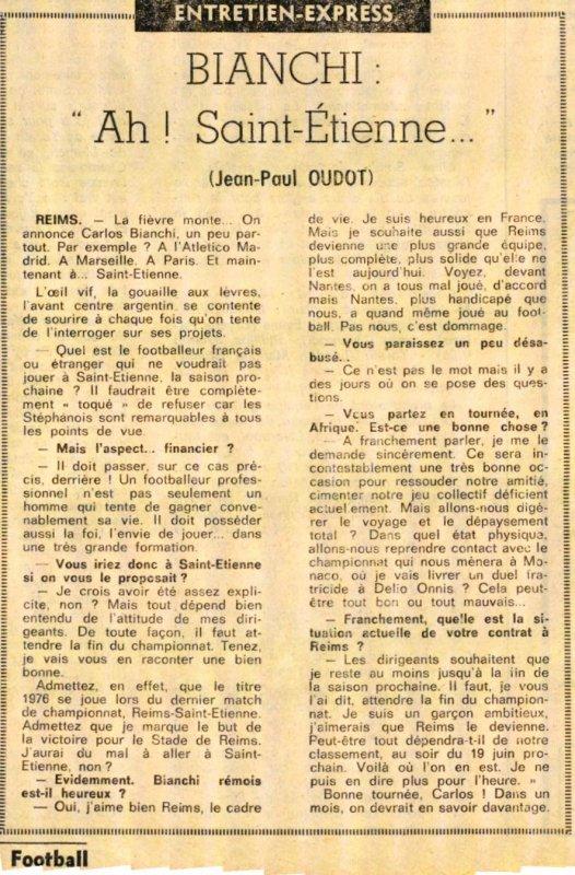 1975  QUEL AVENIR pour CARLOS BIANCHI ? le 20/04/1976