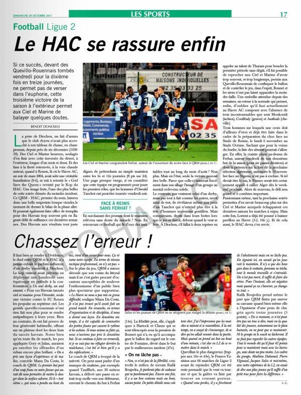 2017 Ligue 2 J13 QUEVILLY-ROUEN LE HAVRE 0-2, le 27/10/2017