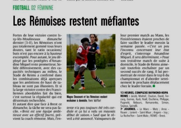 2017 D2 Féminines J08 REIMS BREST 2-0, le 05/11/2017