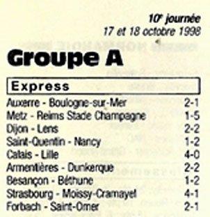 1998 CFA J10 METZ REIMS 1-5, le 17/10/1998
