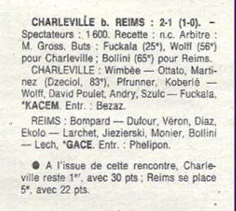 1991 D3 J10 ( Joué après J17 ) CHARLEVILLE REIMS 2-1, le 26/01/1992