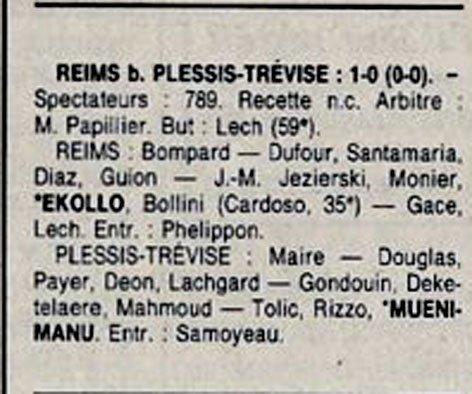 1991 D3 J19 REIMS PLESSIS-TREVISE 1-0, le 09/02/1992
