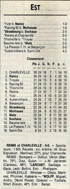 1991 D3 J24 REIMS CHARLEVILLE 0-0, le 22/03/1992