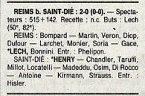 1991 D3 J26 REIMS SAINT-DIE 2-0, le 12/04/1992