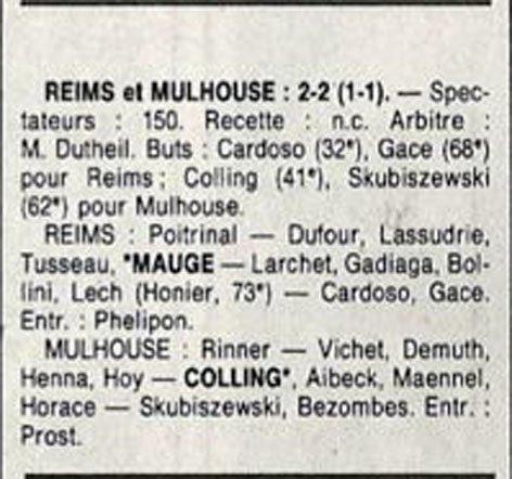 1990 D3 J16 REIMS MULHOUSE 2-2, le 12/01/1991