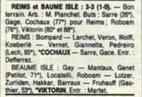1989 D3 J01 REIMS BEAUME-L'ISLE 3-3, le 13/08/1989