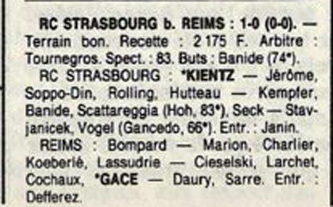 1989 D3 J11 STRASBOURG REIMS 1-0, le 22/10/1989