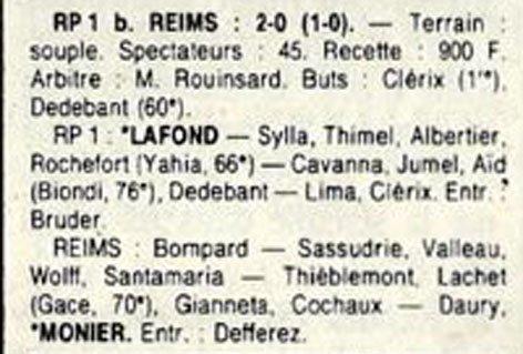 1989 D3 J17 RACING REIMS 2-0, le 20/01/1990
