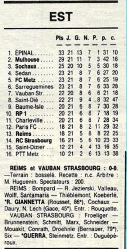 1989 D3 J18 ( joué après J21 ) REIMS VAUBAN-STRASBOURG 0-0, le 10/03/1190