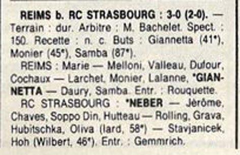 1989 D3 J25 REIMS STRASBOURG 3-0, le 07/04/1990