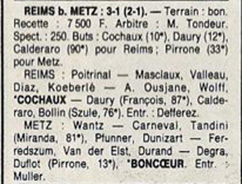 1988 D3 J11 REIMS METZ 3-1, le 23/10/1988