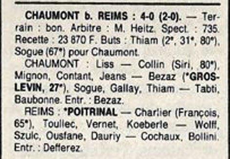 1988 D3 J12 CHAUMONT REIMS 4-0, le 30/10/1988