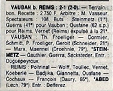 1988 D3 J14 VAUBAN-STRASBOURG REIMS 2-1, le 20/11/1988