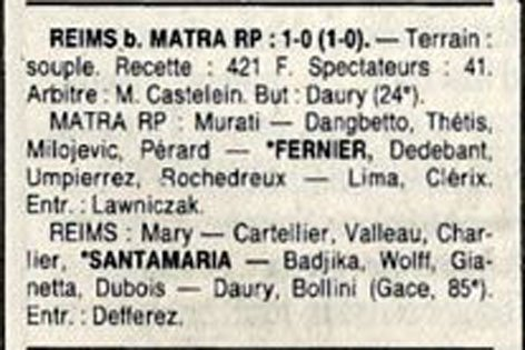 1988 D3 J19 MATRA-RACING REIMS 0-1, le 19/02/1989