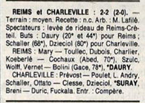 1988 D3 J22 REIMS CHARLEVILLE 2-2, le 19/03/1989