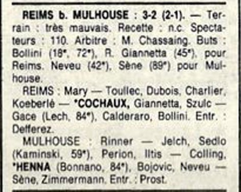 1988 D3 J24 REIMS MULHOUSE 3-2, le 09/04/1989