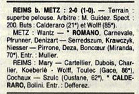 1988 D3 J25 METZ REIMS 0-2, le 23/04/1989