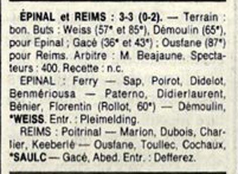 1989 D3 J29 EPINAL REIMS 3-3, le 28/05/1989