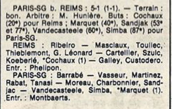 1986 D3 J01 REIMS PARIS SG 1-5, le 17/08/1986