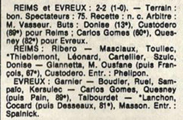 1986 D3 J03 REIMS EVREUX 2-2, le 31/08/1986