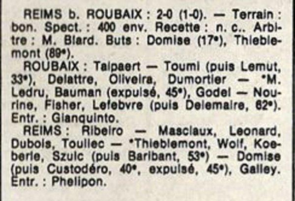 1986 D3 J06 ROUBAIX REIMS 0-2,le 21/09/1986