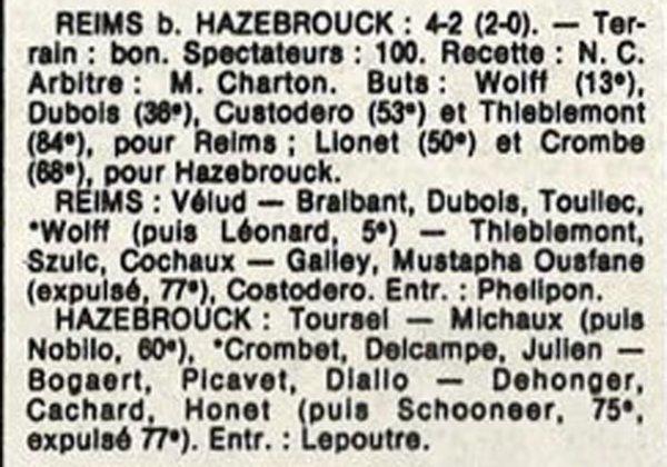 1986 D3 J11 REIMS HAZEBROUCK 4-2, le 28/10/1986