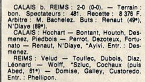 1986 D3 J13 CALAIS REIMS 2-0, le 09/11/1986