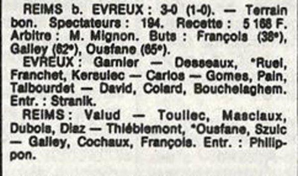 1986 D3 J17 EVREUX REIMS 0-3, le 15/02/1987