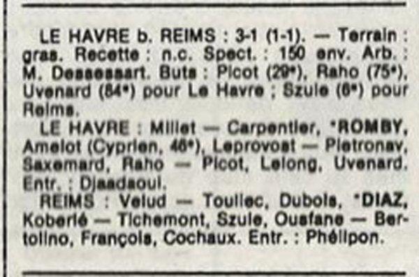 1986 D3 J19 LE HAVRE REIMS 3-1, le 08/03/1987