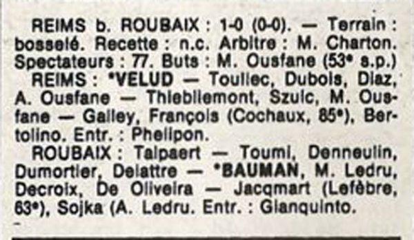 1986 D3 J20 REIMS ROUBAIX 1-0, le 15/03/1987