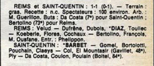 1986 D3 J18 ( joué après J20 )  REIMS SAINT-QUENTIN 1-1, le 25/03/1987