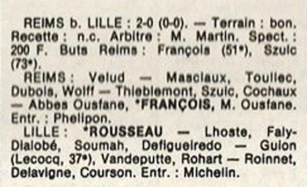1986 D3 J22 REIMS LILLE 2-0, le 12/04/1987