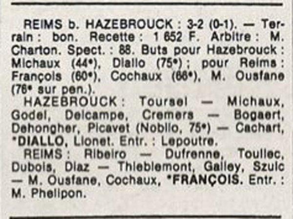 1986 D3 J25 HAZEBROUCK REIMS 2-3, le 03/05/1987