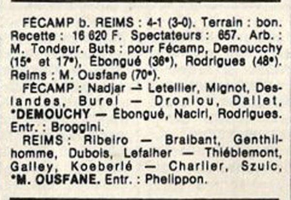 1986 D3 J26 FECAMP REIMS 4-1, le 10/05/1987