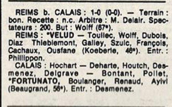 1986 D3 J27 REIMS CALAIS 1-0, le 15/05/1987
