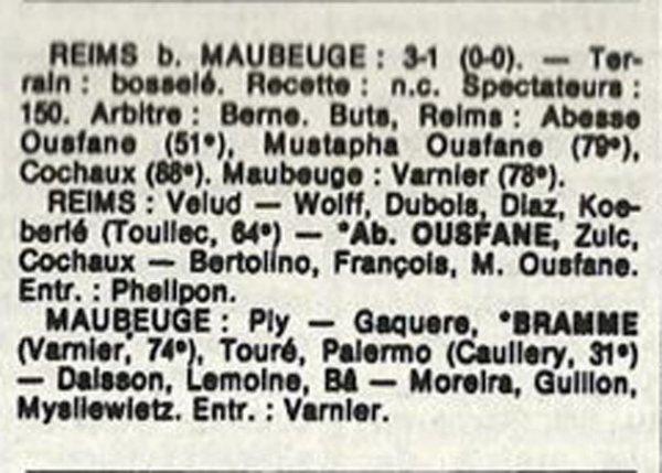 1986 D3 J29 REIMS MAUBEUGE 3-1, le 31/05/1987