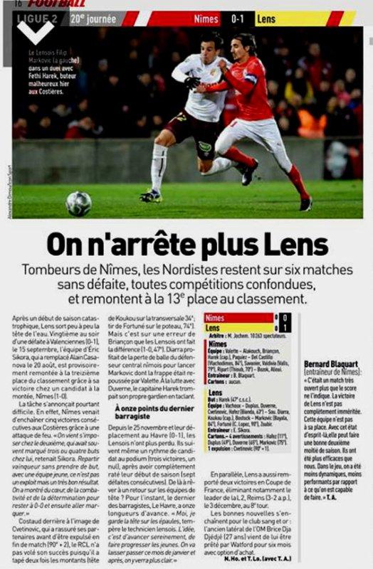 2017 Ligue 2 J20 NÎMES LENS 0-1, le 12/01/2018