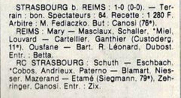 1984 D3 J02 REIMS STRASBOURG 0-1, le 02/09/1984