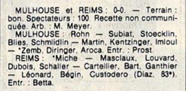 1984 D3 J04 MULHOUSE REIMS 0-0, le 16/09/1984