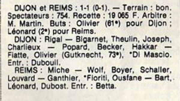 1984 D3 J06 CERCLE DIJON REIMS 1-1, le 30/09/1984