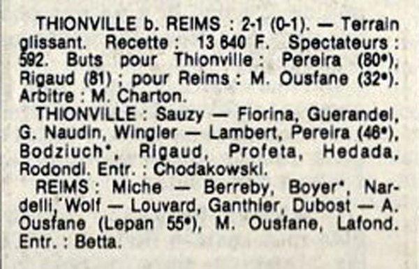 1984 D3 J12 THIONVILLE REIMS 2-1, le 18/11/1984