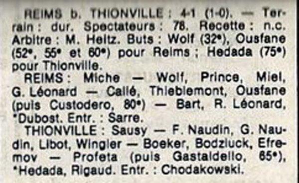 1984 D3 J26 REIMS THIONVILLE 4-1, le 21/04/1985